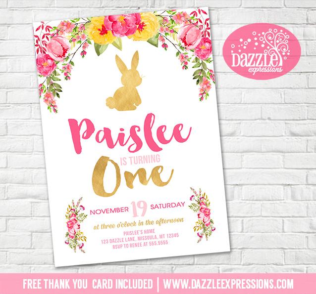 printable floral and gold bunny rabbit birthday invitation girls
