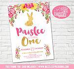 Bunny Rabbit Floral Birthday Invitation 1 - FREE thank you card
