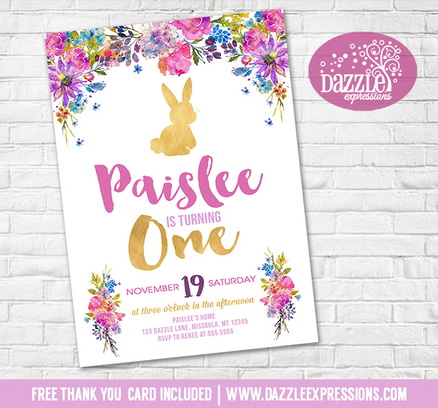 Printable Floral And Gold Bunny Rabbit Birthday Invitation Girls