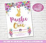Bunny Rabbit Floral Birthday Invitation 2 - FREE thank you card