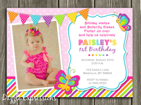 Printable Butterfly Birthday Photo Invitation Girl First - Butterfly birthday invitation images