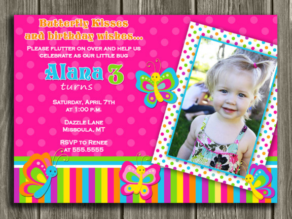Butterfly Birthday Invitation 4 - Thank You Card Included