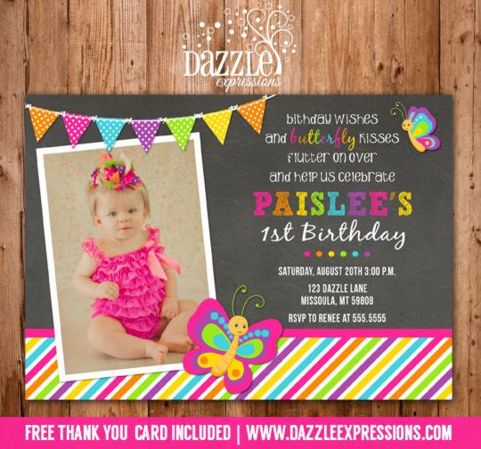 Butterfly Chalkboard Birthday Invitation - FREE thank you card included