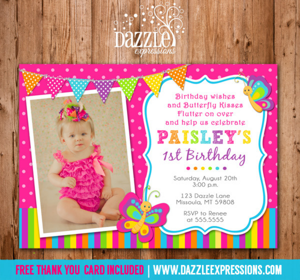 Printable Butterfly Birthday Photo Invitation Girl First – Butterfly Birthday Card