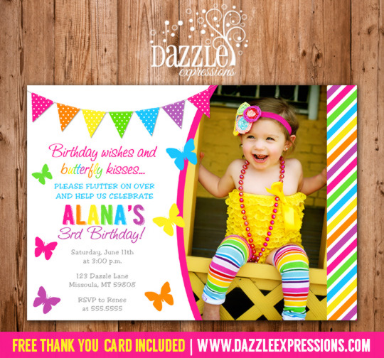 Printable Butterfly Birthday Photo Invitation Girl First Birthday