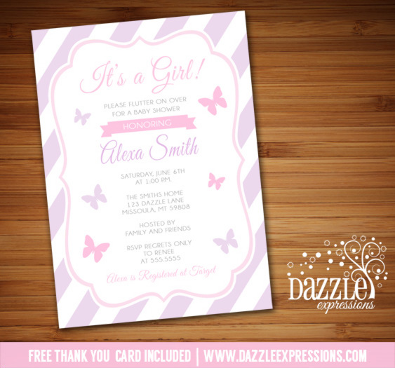 Butterfly Baby Shower Invitation - FREE thank you card included