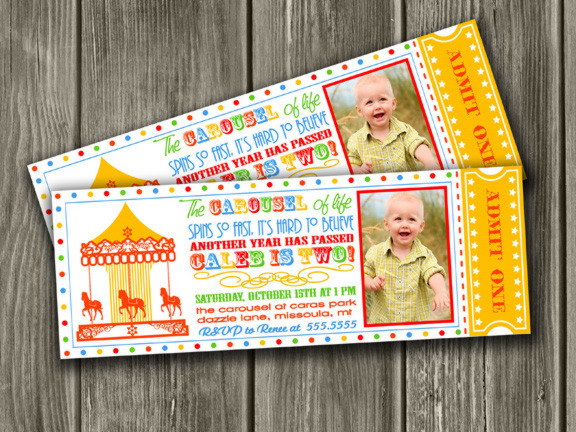 Printable Kids Carousel Ticket Birthday Invitation Carnival