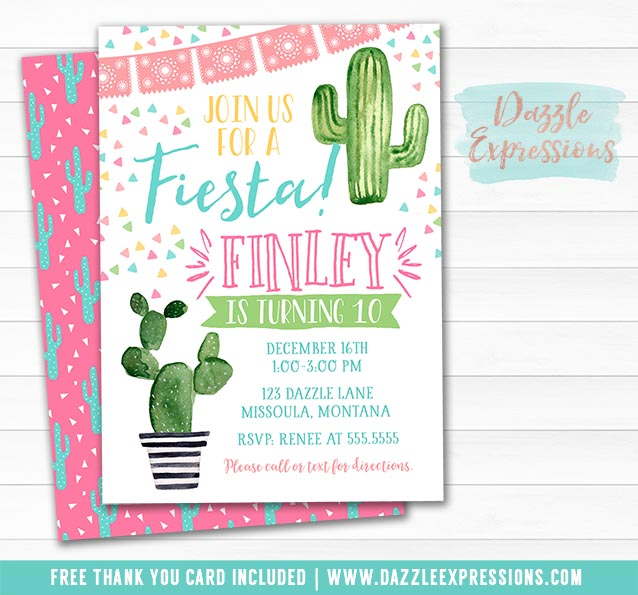 edc9dbb4aadd Printable Watercolor Cactus Birthday Invitation - Cacti Succulents ...