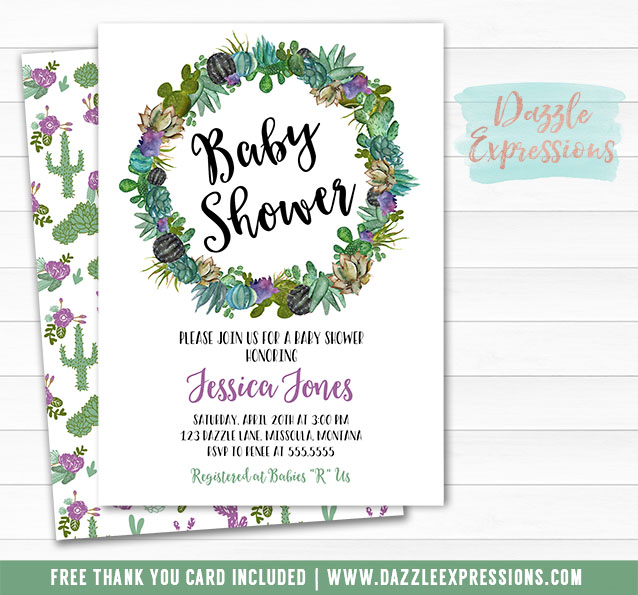 Cactus Baby Shower Invitation 1 - FREE thank you card