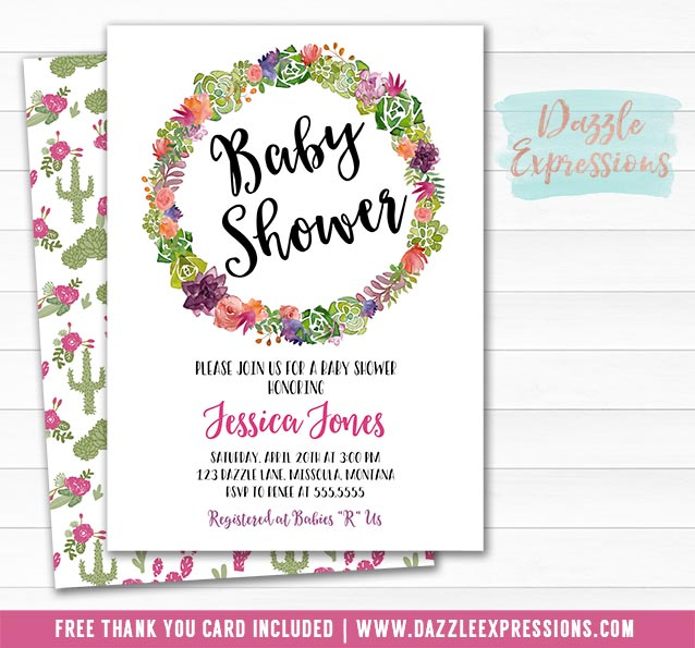 Cactus Baby Shower Invitation 2 - FREE thank you card