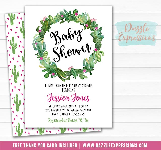 Cactus Baby Shower Invitation 3 - FREE thank you card
