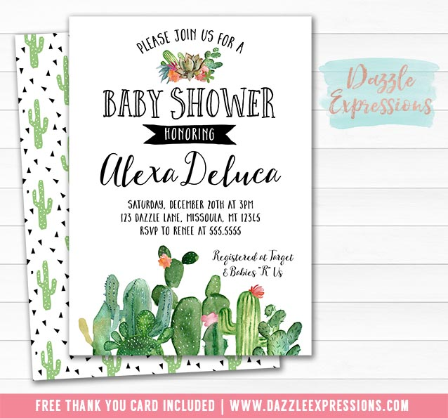 Cactus Baby Shower Invitation 4 - FREE thank you card