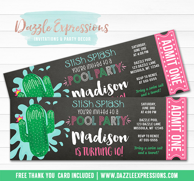 Cactus Float Pool Party Chalkboard Ticket Invitation - FREE thank you card