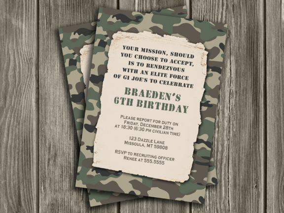 Camouflage Army Birthday Invitation - FREE Thank You Card Included