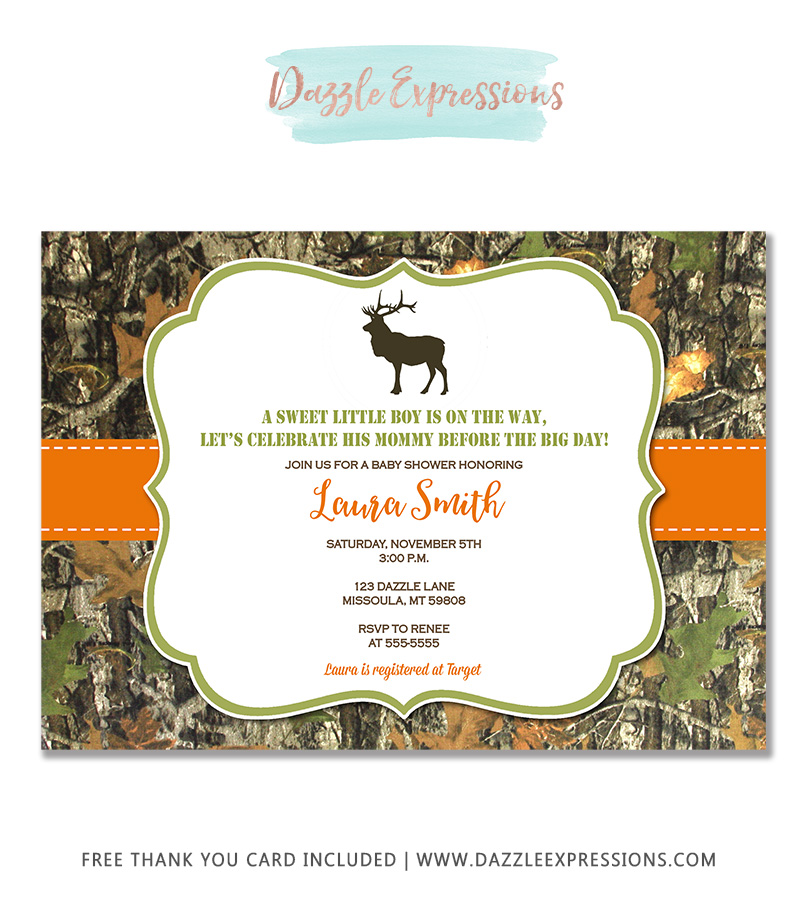 Camouflage Baby Shower Invitation 1 - FREE thank you card included