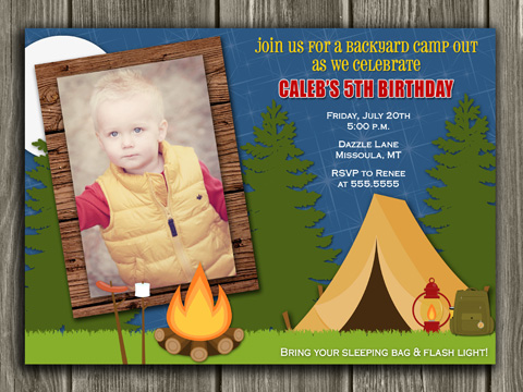 Camping Birthday Invitation - Thank You Card Included