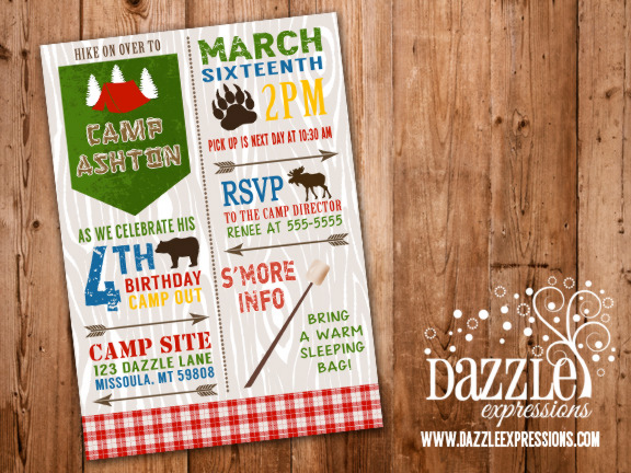 printable rustic camping birthday invitation