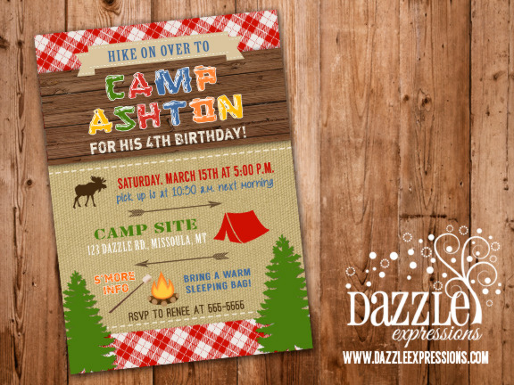 Printable Rustic Camping Birthday Invitation Backyard Sleepover