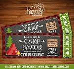 Camping Chalkboard Ticket Invitation 1 - FREE thank you card included