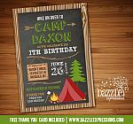 Camping Birthday Invitation 4 - FREE thank you card