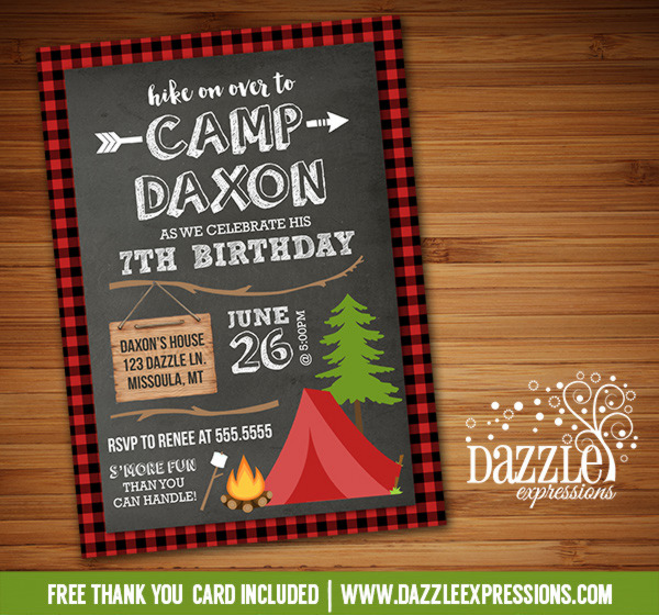 Printable chalkboard plaid camping birthday invitation rustic camping birthday invitation 5 free thank you card filmwisefo