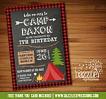 Camping Birthday Invitation 5 - FREE thank you card