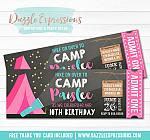 Camping Chalkboard Ticket Invitation 3 - FREE thank you card included