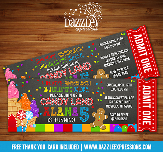 Candy Land Chalkboard Ticket Invitation - FREE thank you card included