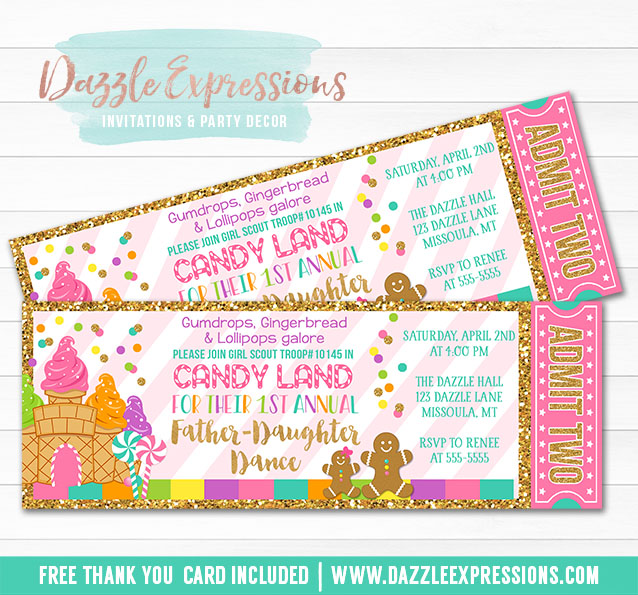 Printable Father Daughter Dance Candy Land Ticket Invitation