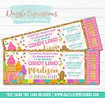 Candy Land Glitter Ticket Invitation - FREE thank you card