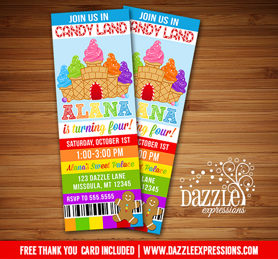 Candy Land Ticket Invitation - FREE thank you card included