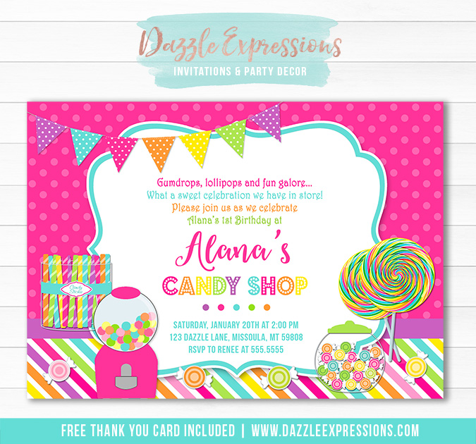 Candy Sweet Shop Birthday Invitation - Thank You Card Included