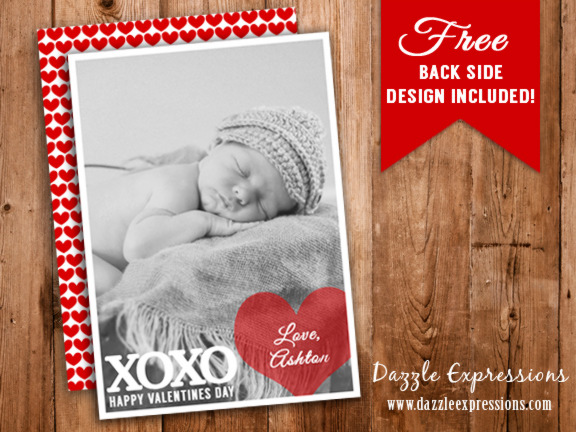 Valentines Day Photo Card 2 - FREE back side