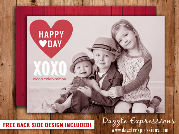 Valentines Day Photo Card 4 - FREE back side