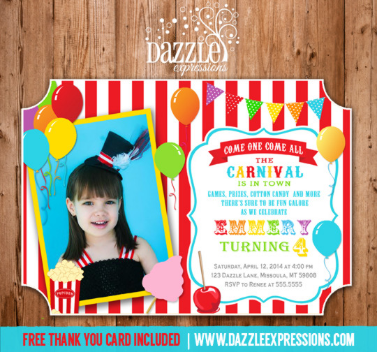 Circuscarnival first birthday photo invitation printable thank circus or carnival birthday invitation 3 thank you card included bookmarktalkfo Image collections