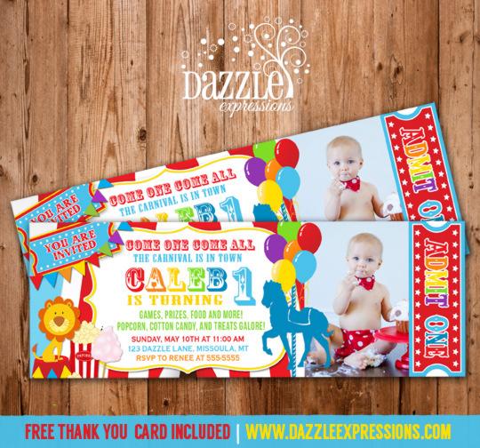 Printable Carnival Ticket Photo Birthday Invitation