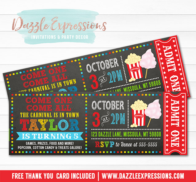 Printable Carnival Chalkboard Ticket Birthday Invitation  Kids