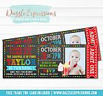 Carnival Chalkboard Ticket Invitation 2 - FREE thank you card