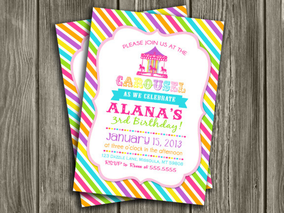 Carousel Birthday Invitation 1 - Thank You Card Included