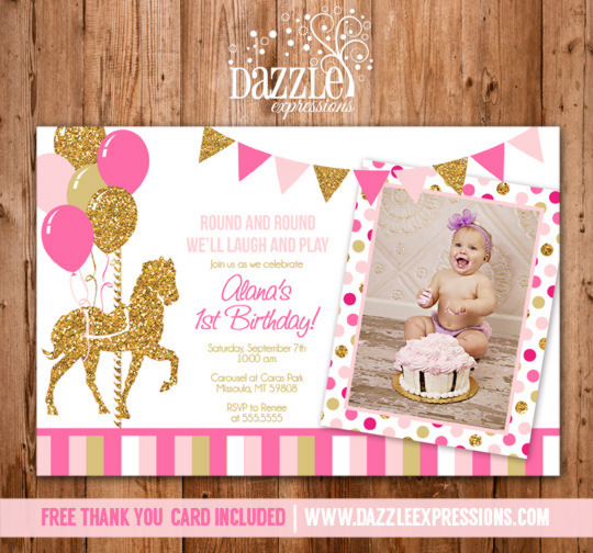 Printable Pink and Gold Carousel Birthday Photo Invitation Girl