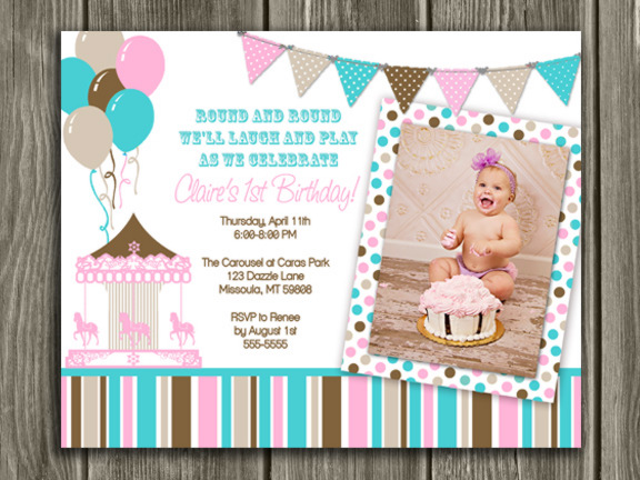 Carousel Birthday Invitation 4 - FREE Thank You Card Included