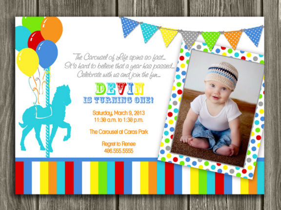Boy Carousel First Birthday Photo Invitation Printable Thank