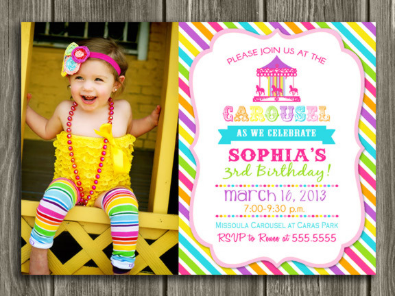 Carousel Birthday Invitation 7 - Thank You Card Included