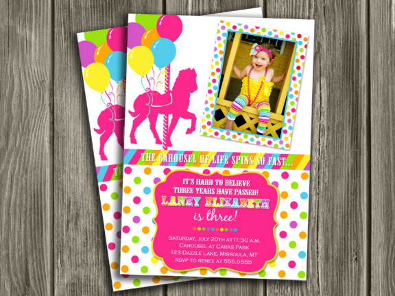 Printable Girl Carousel Birthday Photo Invitation Merry Go Round