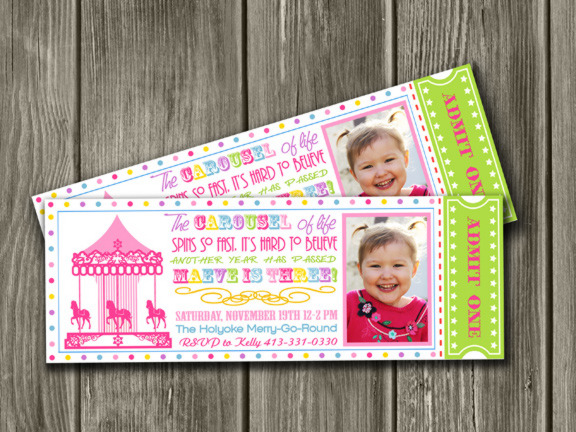 Printable Carousel Ticket Birthday Invitation  Free Thank You Card