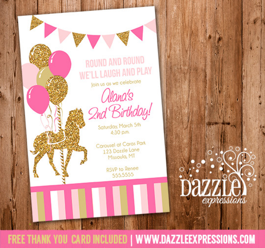 Carousel Birthday Invitation 9 - FREE thank you card