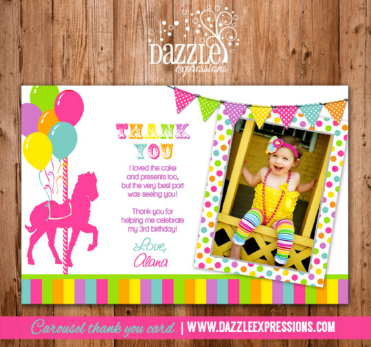 Carousel Photo Thank You Card - Printable