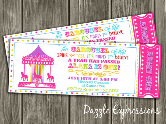 Printable Rainbow Carousel Ticket Birthday Invitation - Free Thank