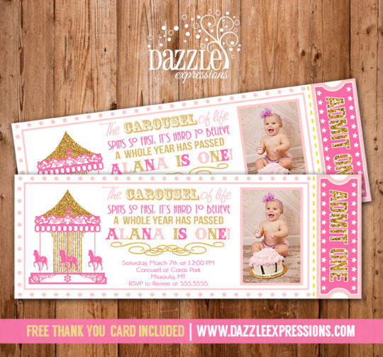 Printable Pink And Gold Glitter Carousel Ticket Birthday