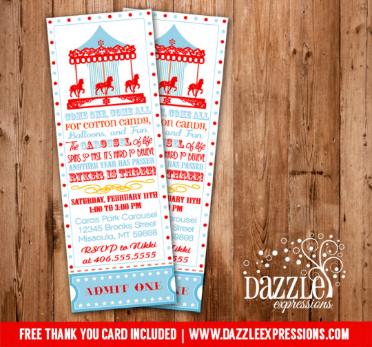 Carousel Ticket Invitation 7 - FREE Thank You Card Included
